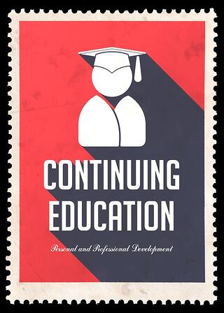 Continuing Education on Red Background. Vintage Concept in Flat Design with Long Shadows..jpeg