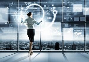 Image of businesswoman pushing icon on media screen-1