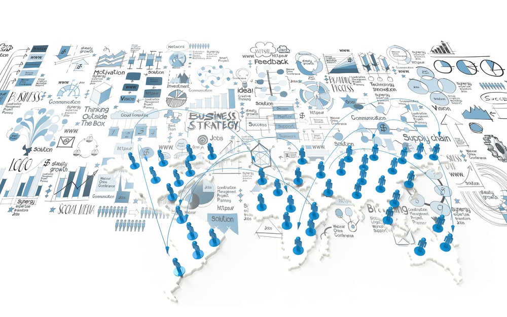social network 3d on world map and hand drawn business strategy as concept.jpeg